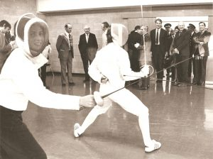 Photograph of women fencing