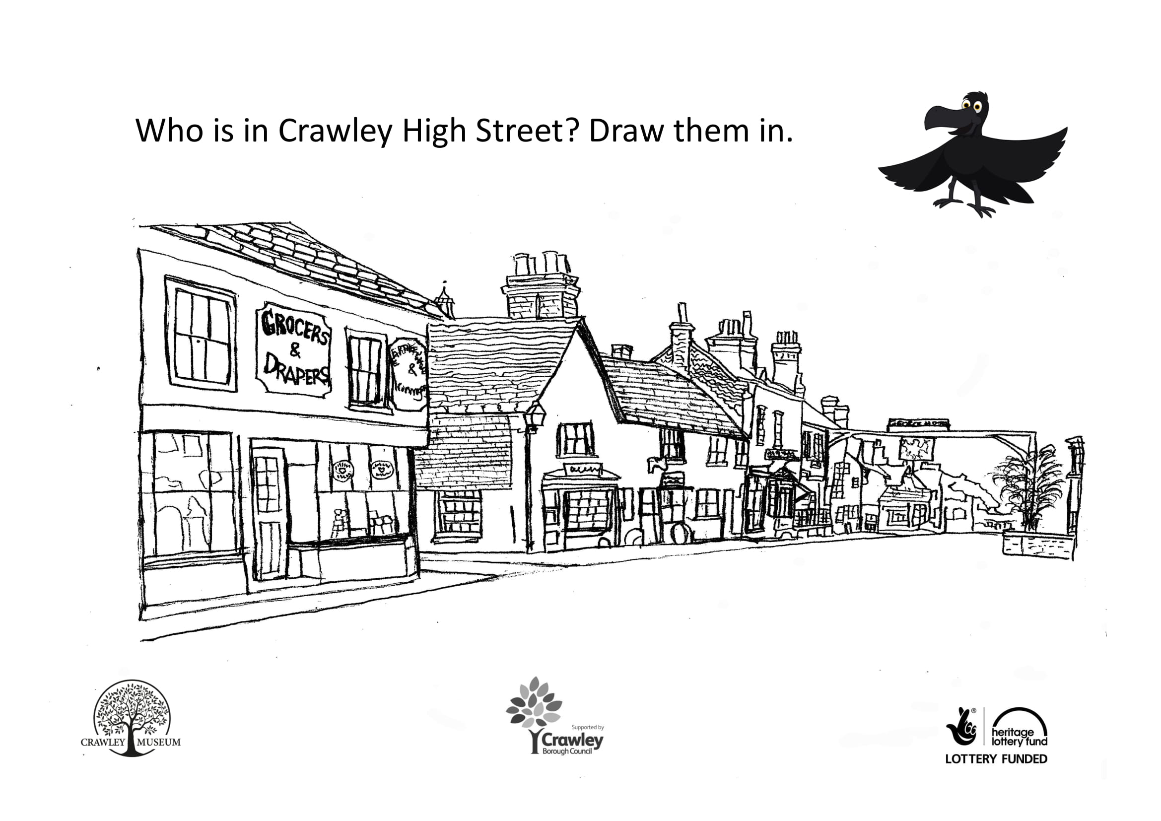 Line drawing of Crawley High Street