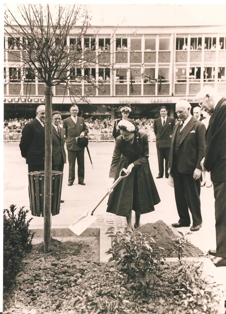 Photograph of the Queen in 1958 planting a tree in Queens Square, Crawley