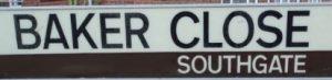 street sign - Baker Close, Southgate