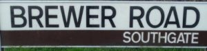 street sign - Brewer Road, Southgate