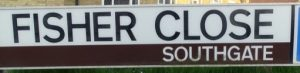 street sign - Fisher Close, Southgate