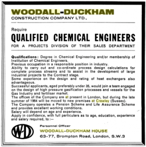 Advert for qualified chemical engineers