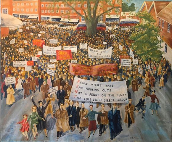 Painting of rent strike - crowds with banners