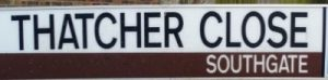 street sign - Thatcher Close, Southgate