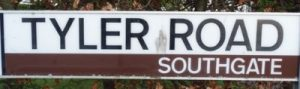 street sign - Tyler Road, Southgate