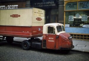 Red and cream truck. Writing on side reads 'British Railways'