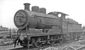 Black and white image of locomotive.