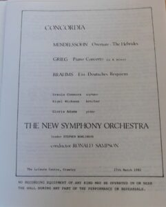 Programme for performance by The New Symphony Orchestra at the Leisure Centre Crawley