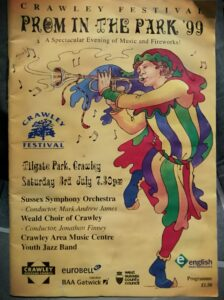 Poster advertising Crawley festival's prom in the Park 1999.