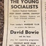 Newspaper advert for David Bowie gig at Crawley Boys Club