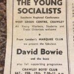 Newspaper advert for David Bowie gig at Crawley Boys Club
