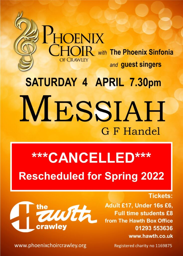 Poster for Phoenix Choir performance of Messiah. Cancelled. Rescheduled for Spring 2022.