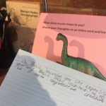 Plastic dinosaur on desk. Sign behind reads 'What does music mean to you? Share your thoughts on an index card and leave it here!' Hand written card in front reads 'I like music because you can express yourself. Music has inspired me to be more confident and creative.'