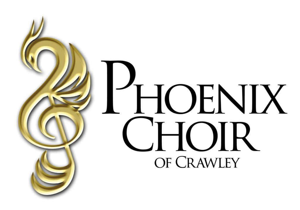 Gold Treble clef. Text - reads 'Phoenix Choir of Crawley'.