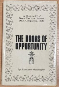 Front cover of Caroline Haslett biography The Doors of Opportunity by Rosalind Messenger