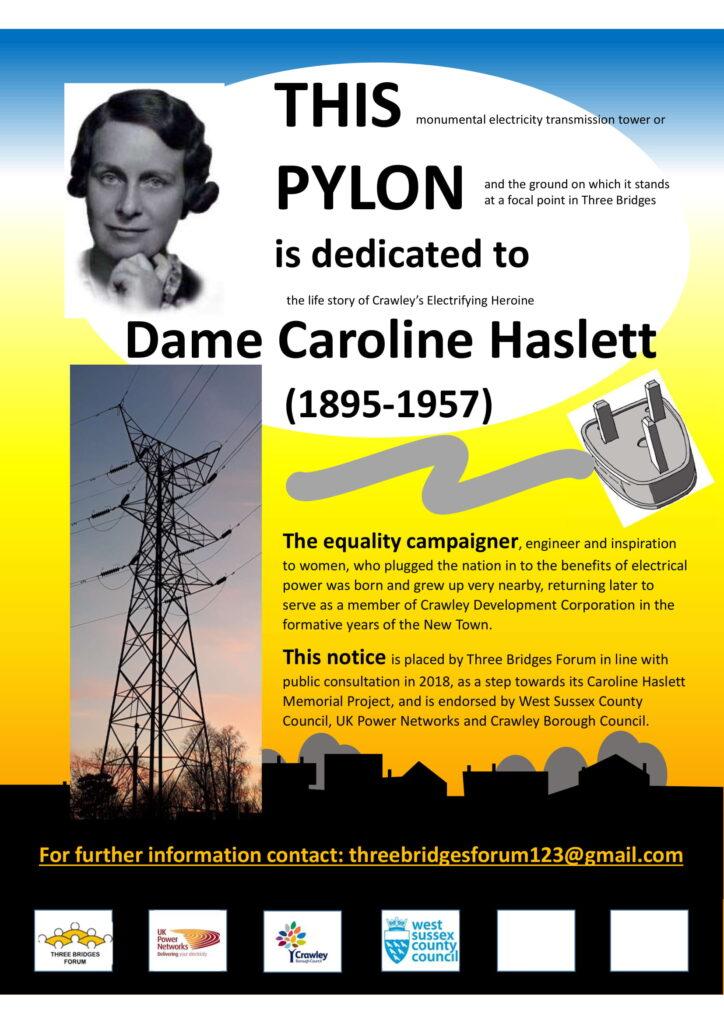 Poster for Caroline Haslett designed by Three Bridges Forum.
