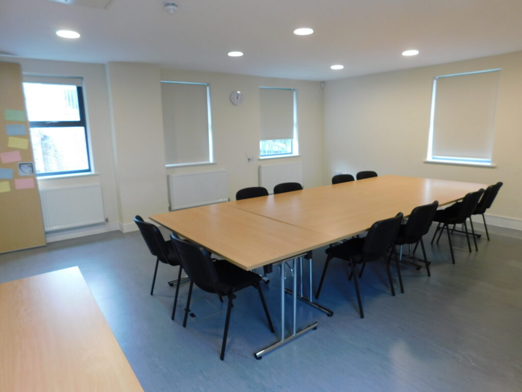 Large office space set out for a meeting