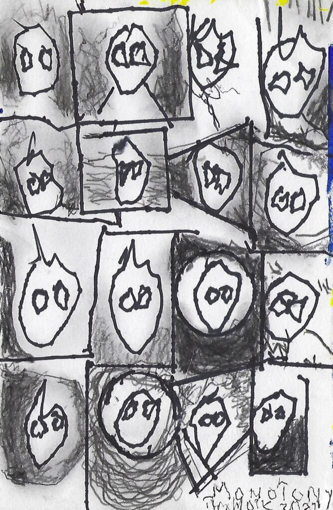 Black and white drawing of faces