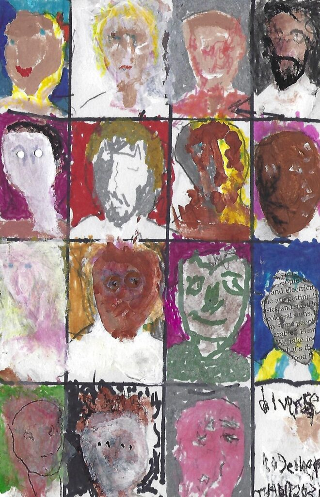 Grid of painted faces