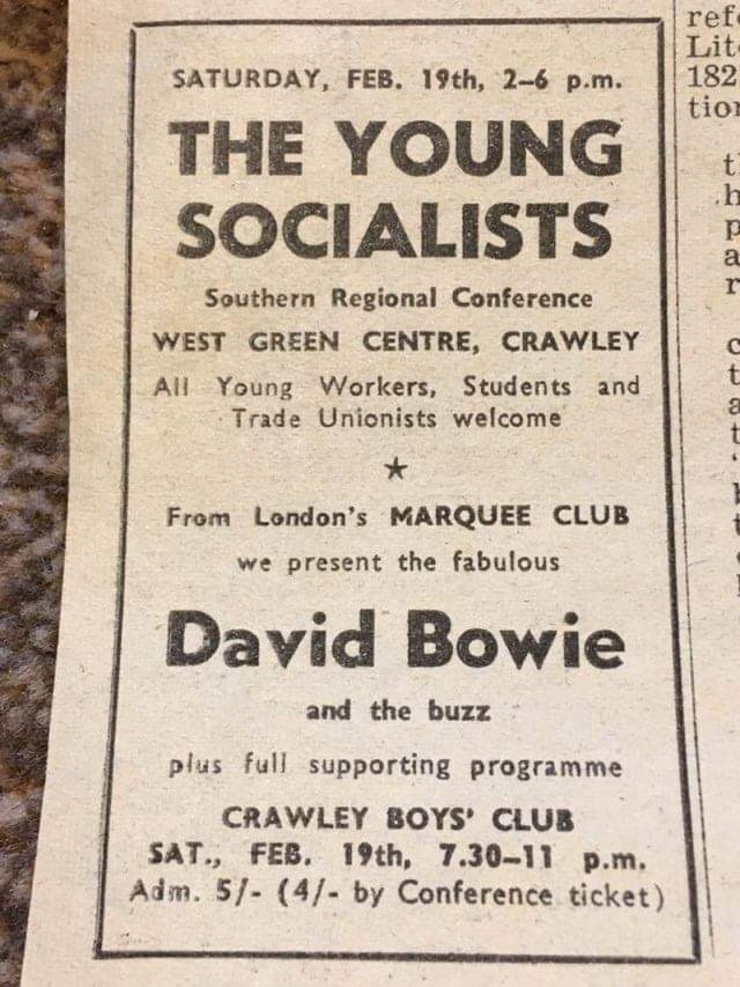Young Socialists & David Bowie advert