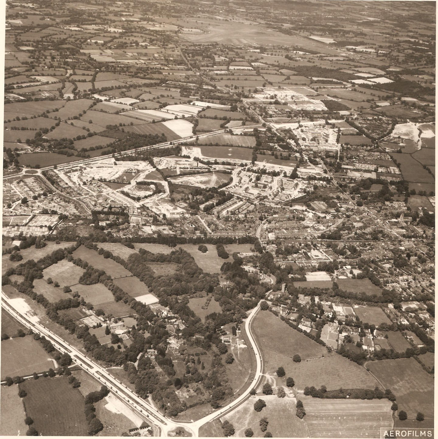 Aerial View of Crawley July 1951 (CSCMS SG63)